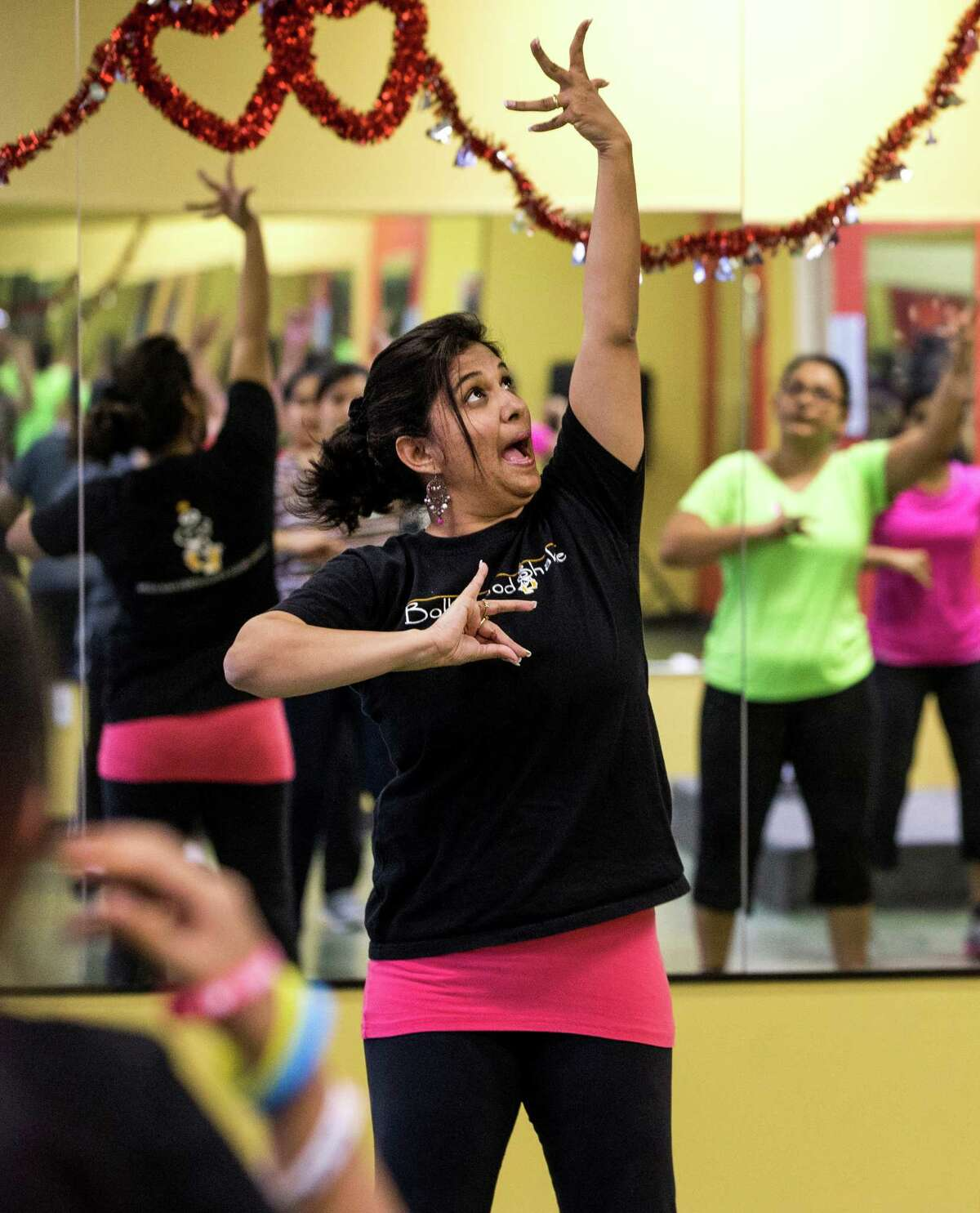 Bollywood Shake founder Ruchika Dias leads a dance-fitness class at her studio.