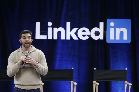 "FILE - In this Nov. 6, 2014 file photo, LinkedIn CEO Jeff Weiner speaks during the company's second annual ""Bring In Your Parents Day,"" at LinkedIn headquarters in Mountain View, Calif. LinkedIn reports quarterly financial results on Thursday, April 30, 2015. (AP Photo/Marcio Jose Sanchez, File)"