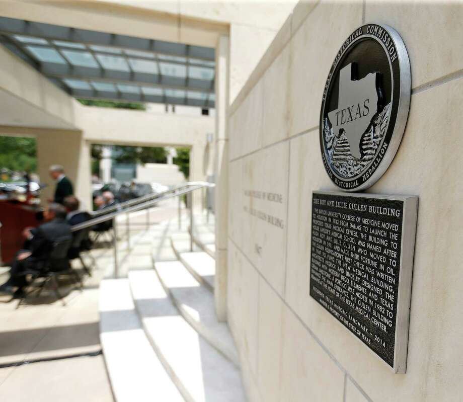 The newly decorated Texas Historic Landmark plaque on the wall at Baylor College of Medicine for the Cullen Building being dedicated as a Texas Historic Landmark on Friday, May 1, 2015, in Houston. Photo: Karen Warren, Houston Chronicle / © 2015 Houston Chronicle