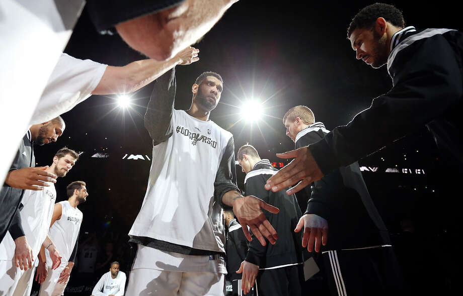 San Antonio Spurs' Tim Duncan is introduced before Game 6 of the first round of the Western Conference playoffs against the Los Angeles Clippers Thursday April 30, 2015 at the AT&T Center. Photo: Edward A. Ornelas /San Antonio Express-News / © 2015 San Antonio Express-News