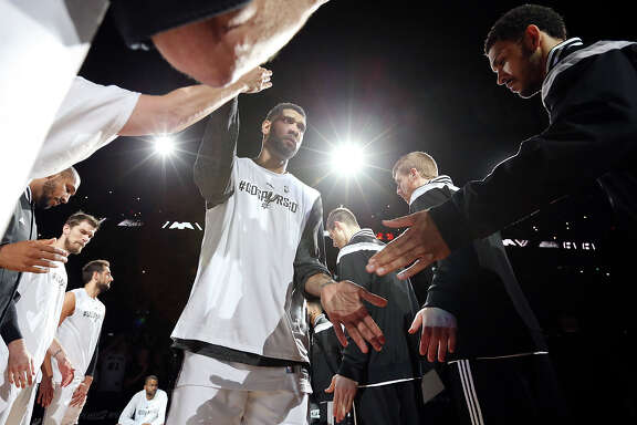 San Antonio Spurs' Tim Duncan is introduced before Game 6 of the first round of the Western Conference playoffs against the Los Angeles Clippers Thursday April 30, 2015 at the AT&T Center.