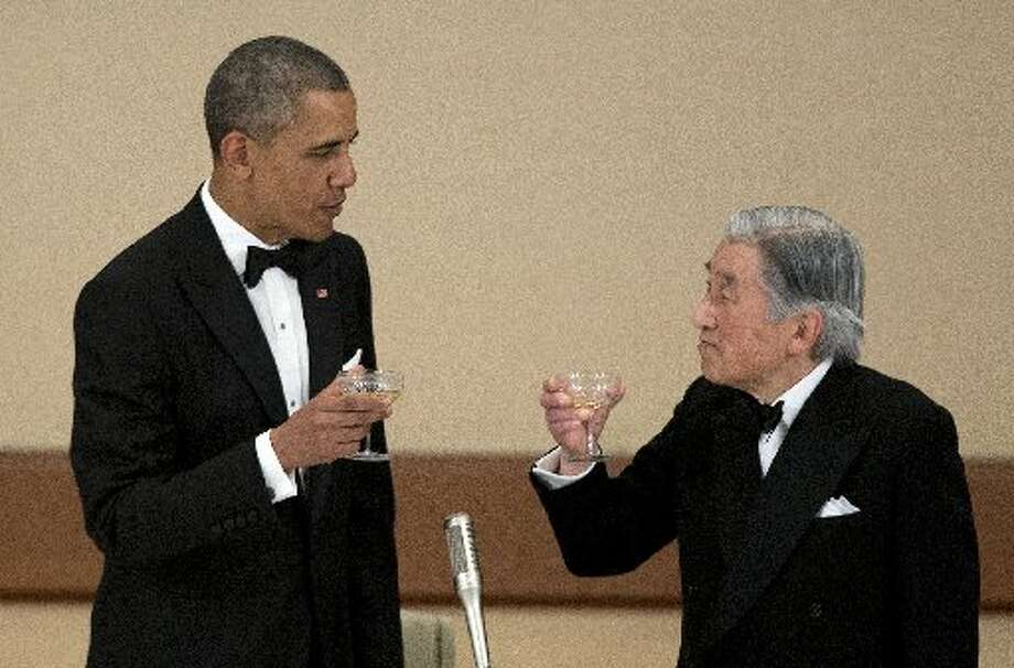 President Obama toasts Emperor Akihito.