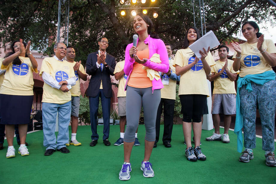 "There are many things society can do to help battle obesity, but fat shaming isn't among the. Here, Nina Davuluri, the first Miss America of Indian origin speaks to the crowd during the opening remarks for the Be Fit. Be Cool."" walkathon last year in San Antonio. Photo: Julysa Sosa / / Julysa Sosa For the San Antonio Express-News"