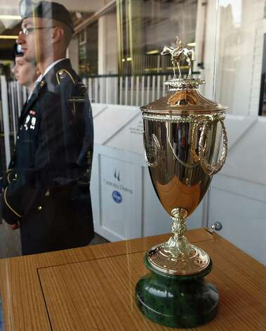 One of the most coveted trophies in all sports is ready for delivery Saturday May 2, 2015 at Churchill Downs in Louisville, Kentucky.  The 141st running of the Kentucky Derby post time is 6:34 this evening.    (Skip Dickstein/Times Union) Photo: SKIP DICKSTEIN