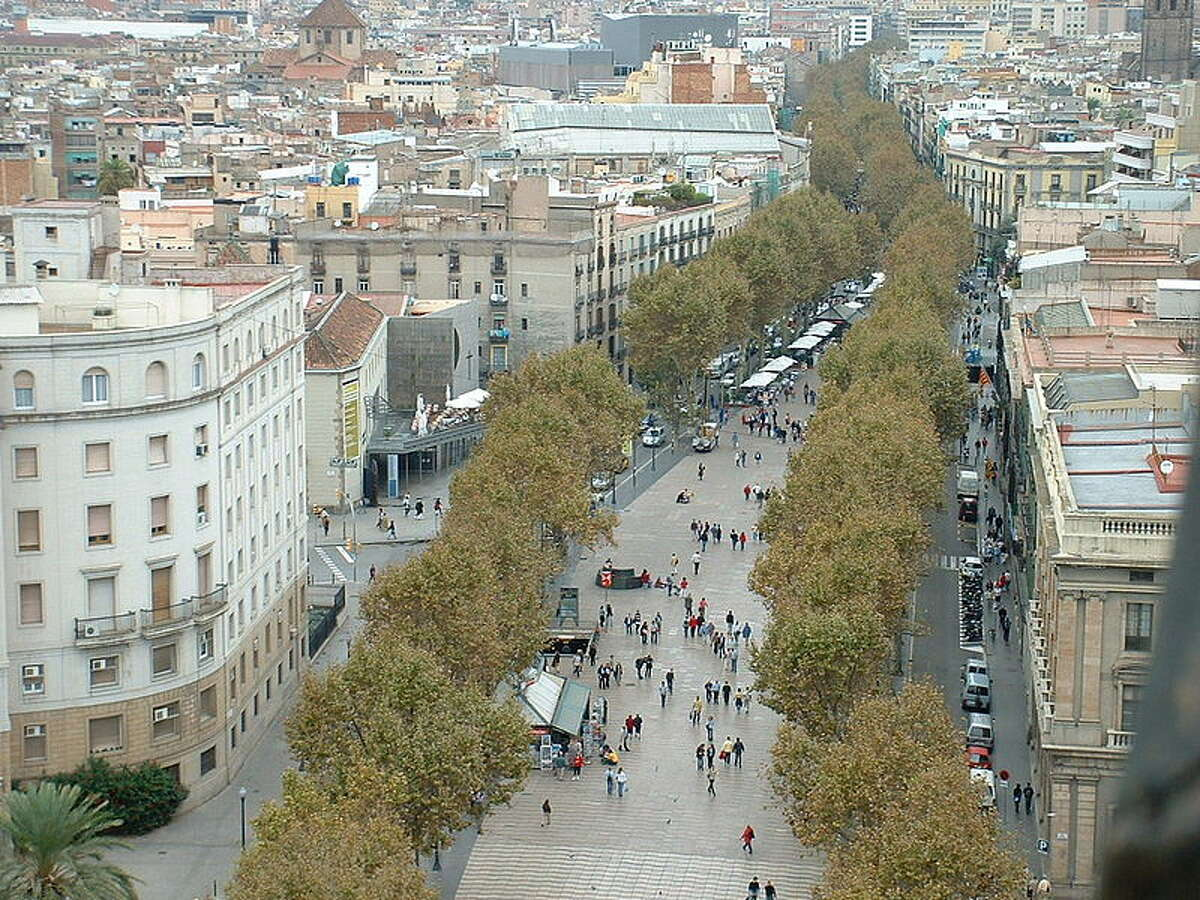 Barcelona's La Rambla, shot from the top of the Colombus Pillar in 2004.