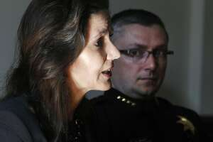 Mayor Libby Schaaf and Police Chief Sean Whent discuss the overnight violence during a news conference at City Hall in Oakland, Calif. on Saturday, May 2, 2015 after a demonstration turned violent Friday night. More than 40 new cars parked in a dealership storage lot were heavily damaged or destroyed and windows were smashed at several businesses along the Broadway corridor.