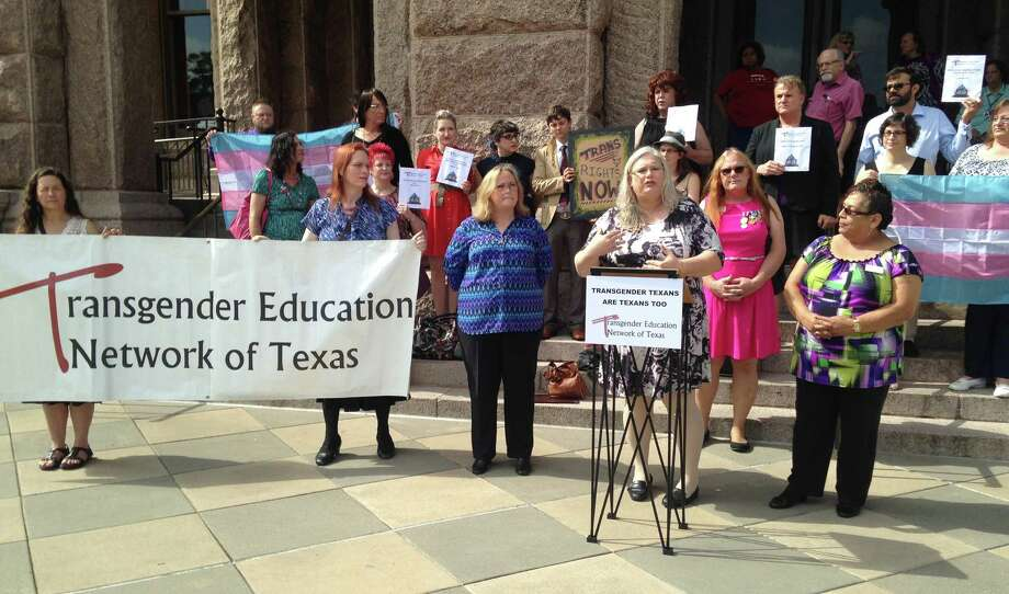 Photo By Lauren McGaughy    About two dozen transgender Texans gathered at the Texas state capital in Austin Monday, April 27, 2014 Photo: Lauren McGaughy / Lauren McGaughy / Houston Chronicle