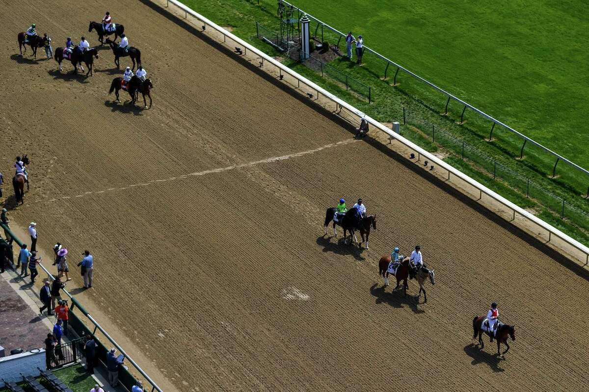 Horses walk on the track during preliminary action at Churchill Downs on the day of the 141st Kentucky Derby, in Louisville, Ky., May 2, 2015. The horses â€