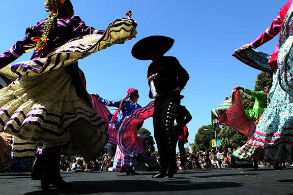 The Ensambles Ballet Folklorico de San Francisco group performs at the Cinco De Mayo Festival, Saturday, May 2, 2015, in San Francisco, Calif.