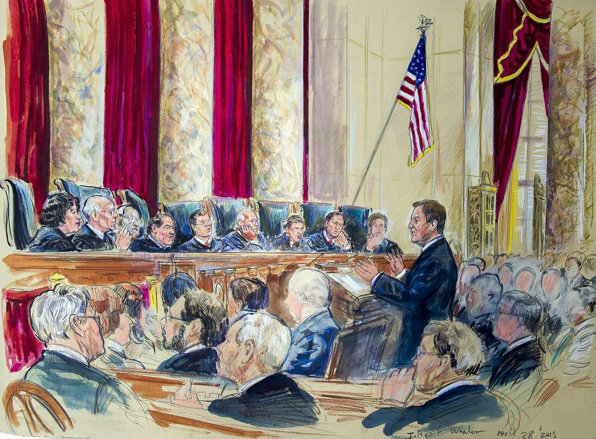 This artist rendering shows Tennessee Associate Solicitor General Joseph Walen arguing before the Supreme Court hearing on same-sex marriage, Tuesday, April 28, 2015, in Washington. Justices, from left are, Sonia Sotomayor, Stephen Breyer, Clarence Thomas, Antonin Scalia, Chief Justice John Roberts, Anthony Kennedy, Ruth Bader Ginsburg, Samuel Alito Jr., and Elena Kagan. (AP Photo/Dana Verkouteren)