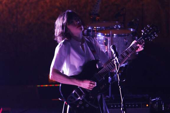 Carrie Brownstein of Sleater-Kinney performs at the Nob Hill Masonic Center in San Francisco, Calif. Saturday, May 2, 2015.