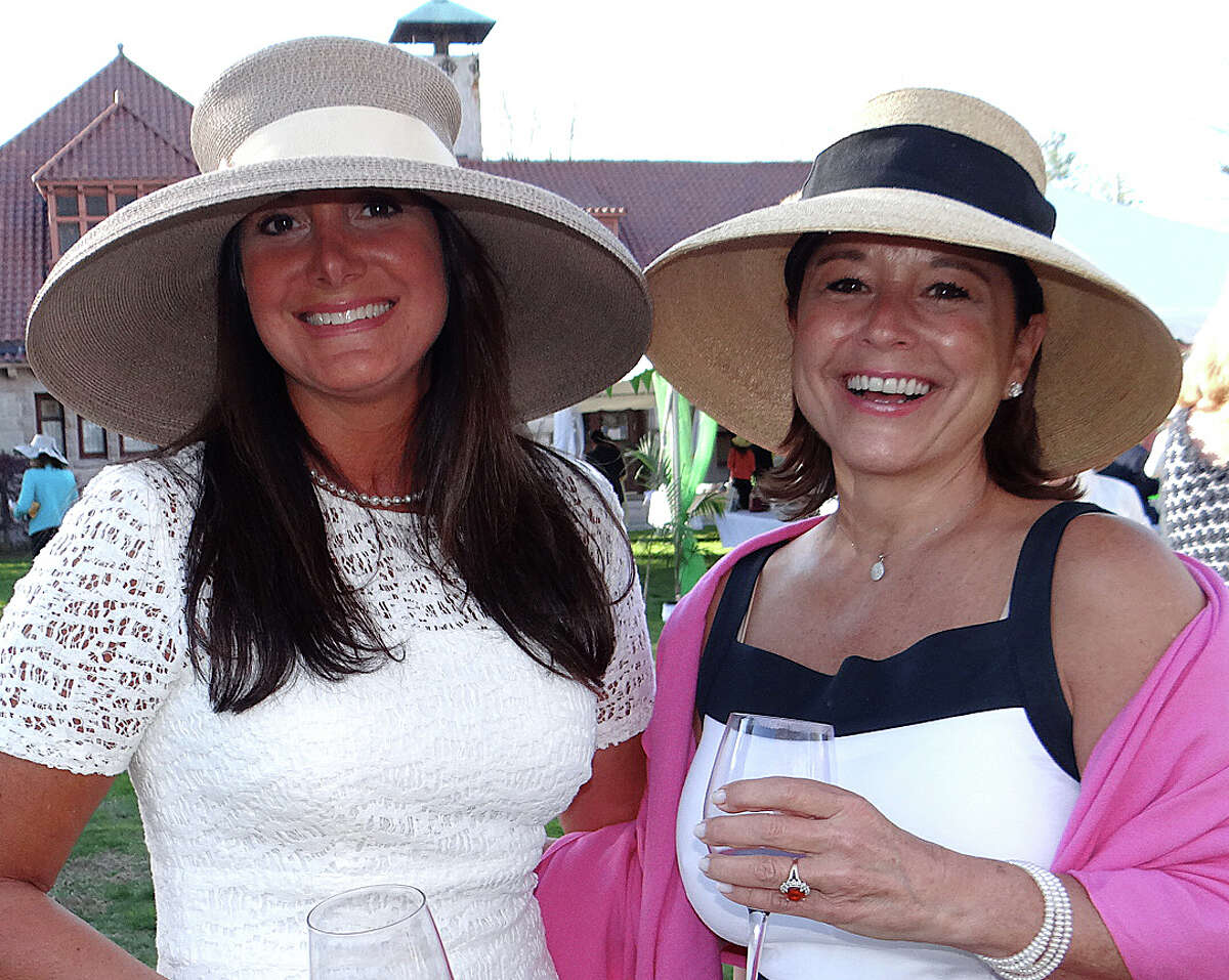 Stephanie Guterl of Southport and Liz Clarke of Fairfield at the Pequot Library's annual Derby Day fundriaser on Saturday afternoon.