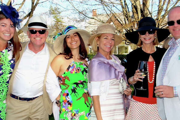 Among those on hand for the annual Derby Day party at the Pequot Library were Sarah Hale, Kelsey Biggers, Amy Rothman, Sissy Biggers, Nina Cahill and Mark Hale.