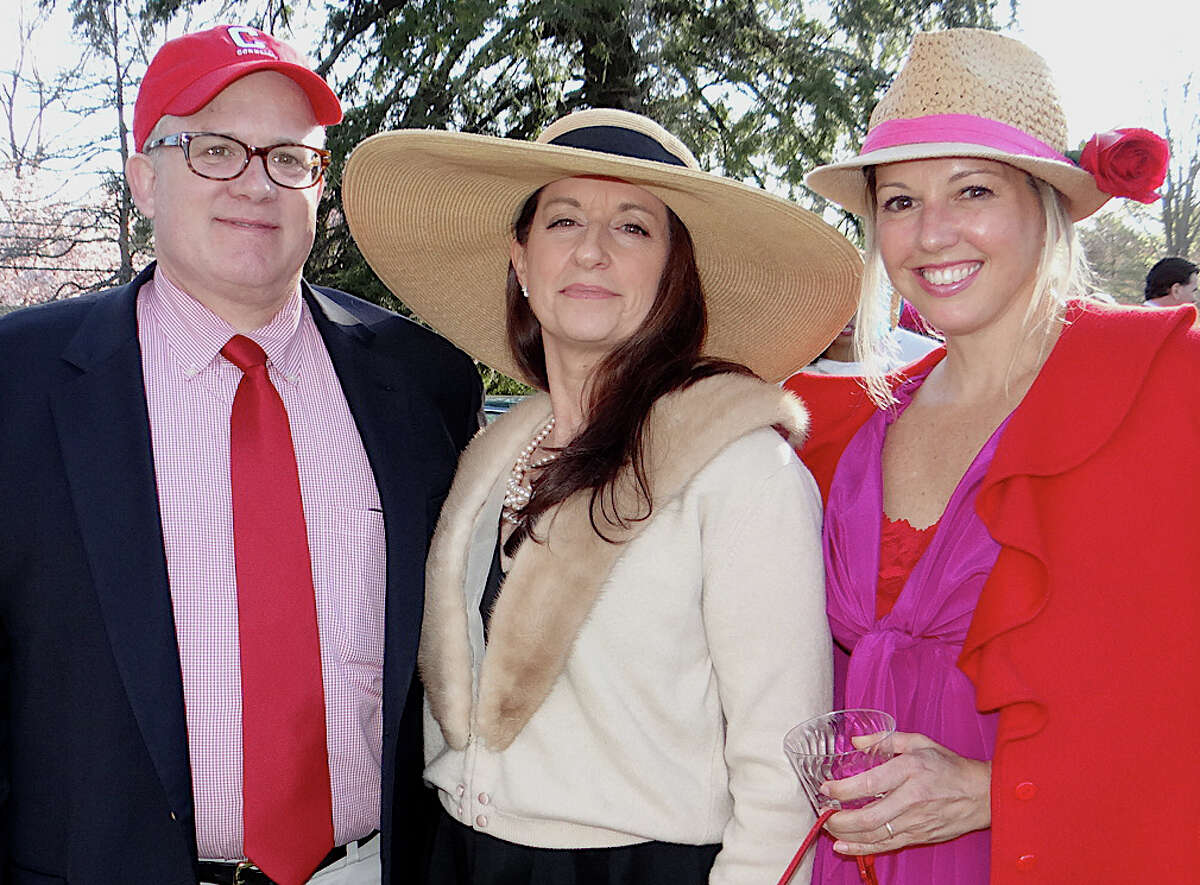Tim O'Connor, Beth Santa and Paula Ringel Martin at the Pequot Library's annual Derby Day party Saturday afternoon.