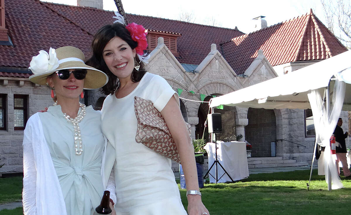 Courtenay Sicre and Catherine Friedline at the annual Derby Day party at the Pequot Library.