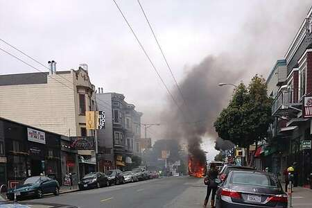 A tour bus caught on fire Sunday in San Francisco's Upper Haight neighborhood. No one was injured.