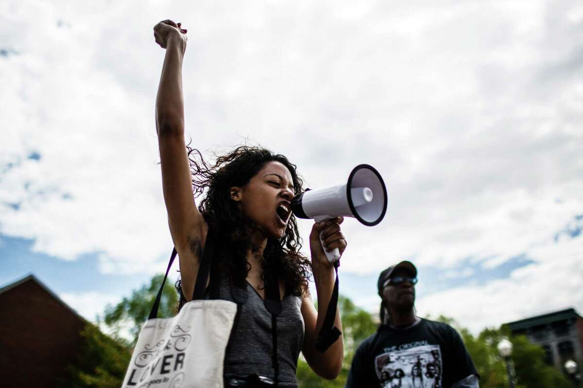 Angela Kirkland leads a chant during a Baltimore solidarity rally, Saturday, May 2, 2015 in Harrisburg, Pa.Latest from AP: Baltimore lifts curfew after days of tension
