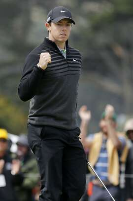 Rory McIlroy pumped his fist as his putt on the 18th hole gave him the win in the semifinals Sunday May 3, 2015. Rory McIlroy beat Jim Furyk in the semifinals at the PGA Tour's Match Play Championship at Harding Park.