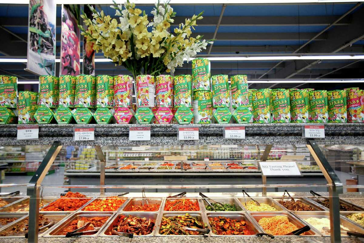 Hankook Market, a one-stop shop for all things Korean, offers large help-yourself counters, where you can box up cucumber kimchi, seaweed salad, seasoned fish cake, and even ready-to-cook marinated pork, chicken and beef.
