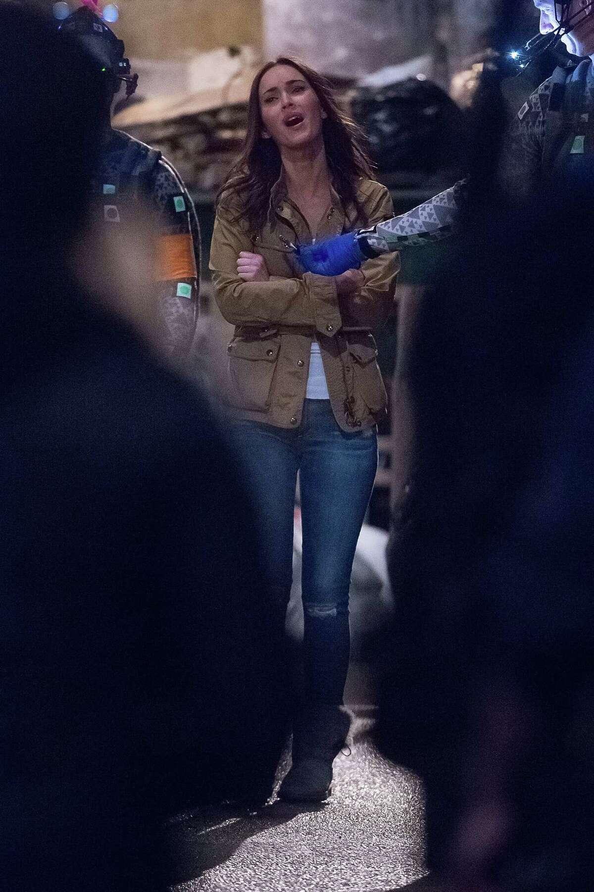 Actress Megan Fox seen on the set of 'Teenage Mutant Ninja Turtles 2' filming in Manhattan on May 1, 2015 in New York City.