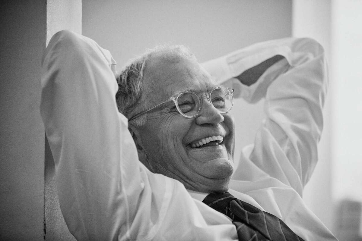 David Letterman relaxes in his dressing room before a taping on April 20.