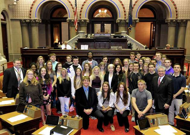 Assemblyman Jim Tedisco welcomes Ballston Spa High School seniors in Dan Hornick?s class to the Assembly Chamber at the Capitol. Tedisco talked with the students about his Common Core Parental Refusal Act and the opt-out movement as well as the Assembly Chamber finally going digital. (Adam Kramer) / NYGOP PHOTO