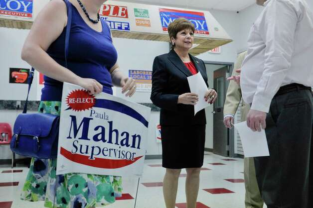 Colonie Town Supervisor Paula Mahan talks with supporters during a campaign event on Sunday, May 3, 2015, in Colonie, N.Y.  Mahan held the event to kick off her campaign for a fifth two-year term.   (Paul Buckowski / Times Union) Photo: PAUL BUCKOWSKI / 00031685A