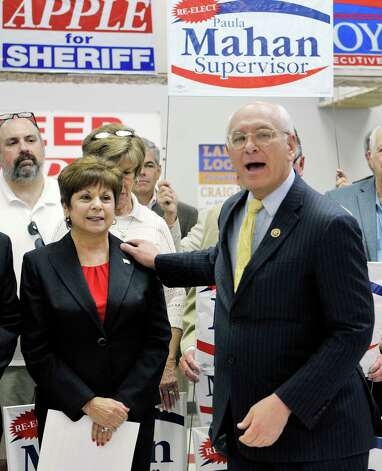 Colonie Town Supervisor Paula Mahan listens as Congressman Paul Tonko talks about her during a campaign event on Sunday, May 3, 2015, in Colonie, N.Y.  Mahan held the event to kick off her campaign for a fifth two-year term.   (Paul Buckowski / Times Union) Photo: PAUL BUCKOWSKI / 00031685A