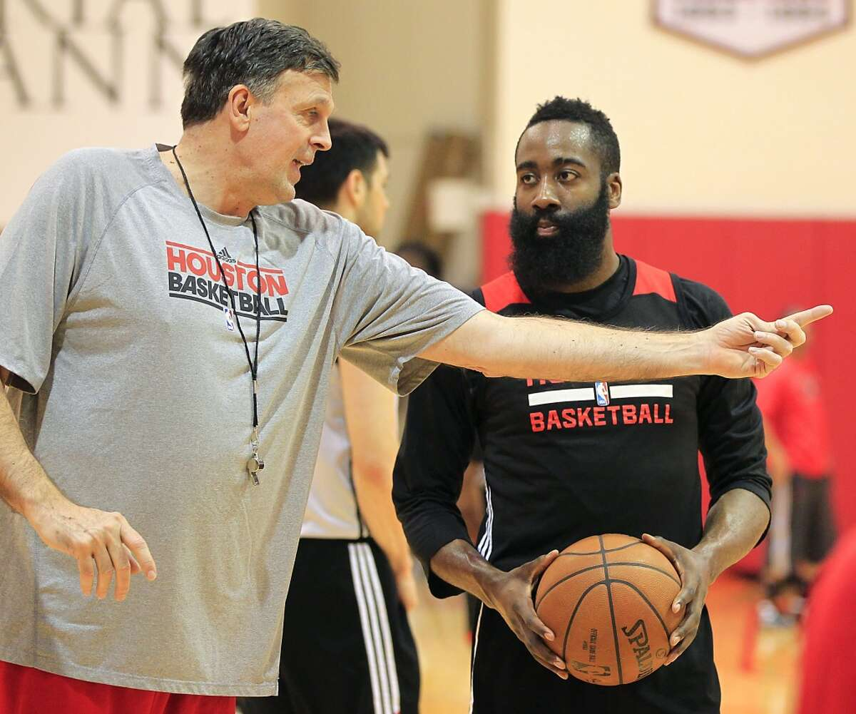 Houston Rockets head coach Kevin McHale left, works with Rockets guard James Harden during the Houston Rockets practice at the Toyota Center Sunday, May 3, 2015, in Houston. ( James Nielsen / Houston Chronicle )