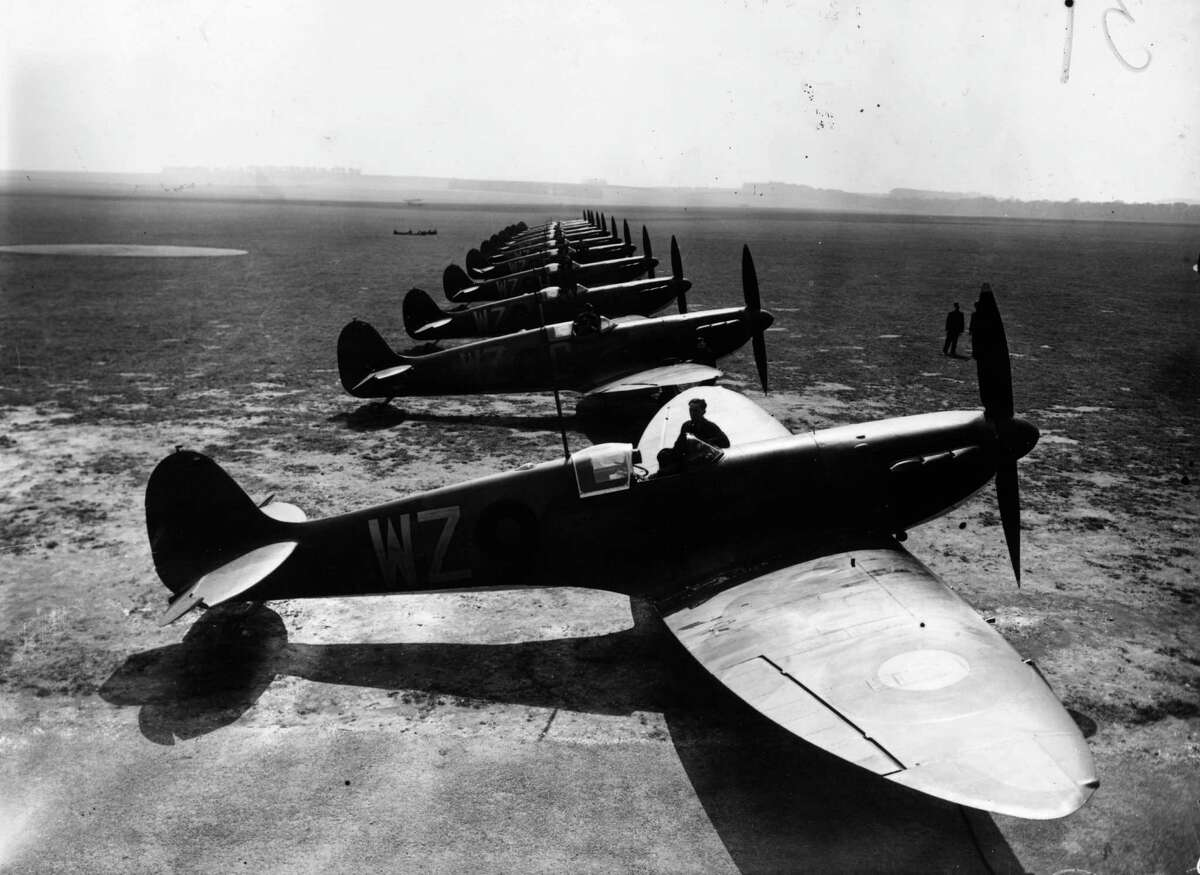 4th May 1939: A row of Spitfire fighterplanes at Duxford, Cambridgeshire.