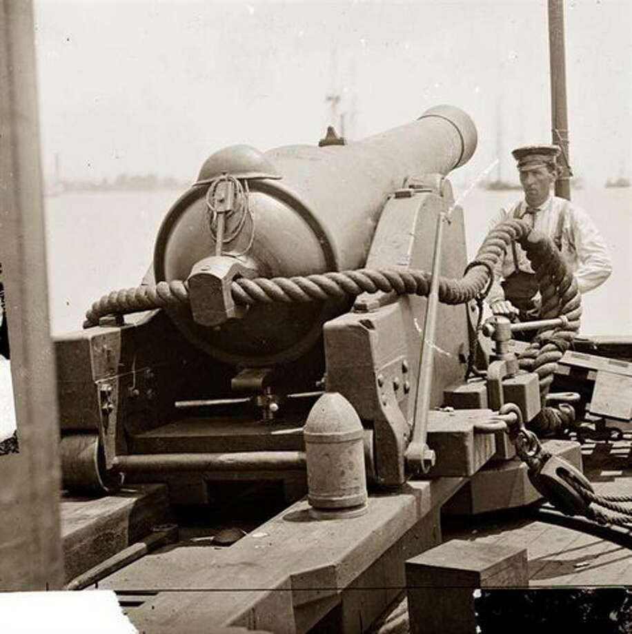 An example of a Civil War era rifle cannon and rigging. An eye hook can be seen in the foreground at right, attached to a line. Eye hooks were used to position the cannon in place prior to firing. Courtesy photo Photo: US Army Corps Of Engineers Savannah District