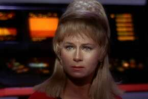 """LOS ANGELES - SEPTEMBER 15: Grace Lee Whitney as Yeoman Janice Rand in in the STAR TREK episode, """"Charlie X.""""  Season 1, episode, 2.  Original air date September 15, 1966. Image is a screen grab.  (Photo by CBS via Getty Images)"""