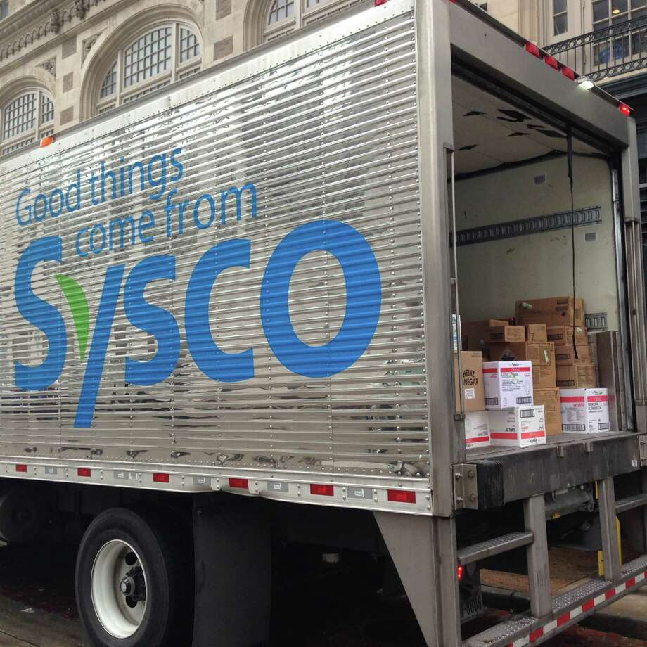 A Sysco truck makes a delivery in downtown Houston. Photo: Katherine Feser