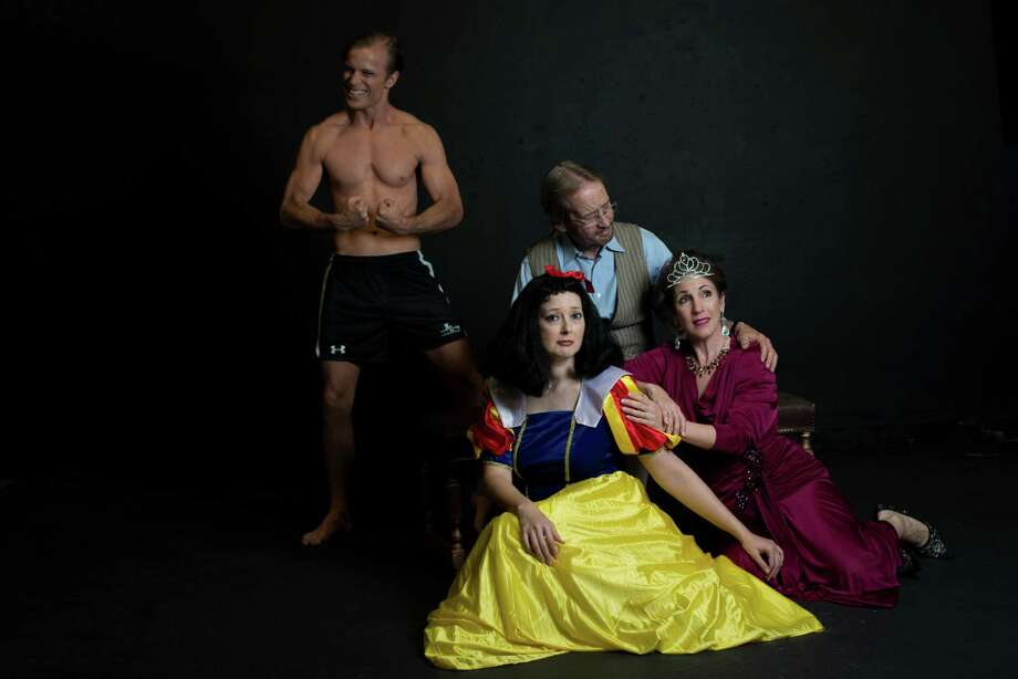 John Stillwaggon (clockwise from left) is Spike, and John O'Neill, Anna Gangai and Emily Spicer are Vanya, Sonia and Masha in Classic Theatre's staging of Christopher Durang's Tony Award-winning play. Photo: Courtesy Siggi Ragnar / sRagnar