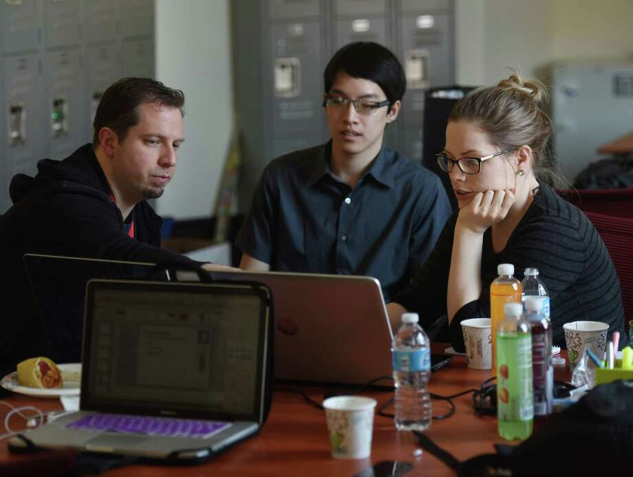 Despite efforts like Stamford Startup Weekend to encourage the creation of startups in Connecticut, including Trees Clothing whose Startup Weekend team members are pictured in April, new business formation hit a 13-year low in the first quarter of 2015. Photo: Tyler Sizemore / Greenwich Time