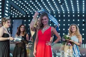 Julia Valera, 23, is crowned the winner of the Miss Russian SF 2015 competition at Temple Nightclub in San Francisco, Sunday, May 3, 2015.