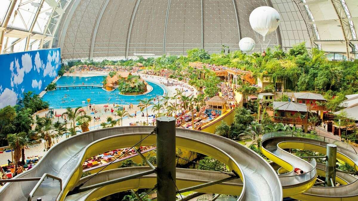 Attractions include Germany's tallest waterslide.