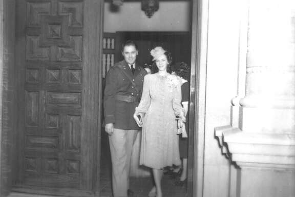 """Lt. and Mrs. William L. Hamrich leave Randolph Field chapel after their marriage,"" said a photo caption in the San Antonio Light March 24, 1940. ""Kelly (Field) grads married hurriedly after graduation will have brief honeymoon before leaving for maneuvers."""