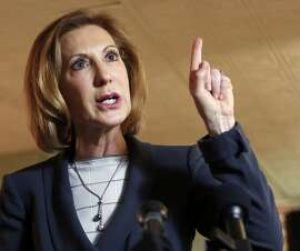 Former Hewlett-Packard CEO Carly Fiorina speaks during a business luncheon at the Barley House with New Hampshire Republican lawmakers, Tuesday, April 28, 2015, in Concord, N.H. (AP Photo/Jim Cole)