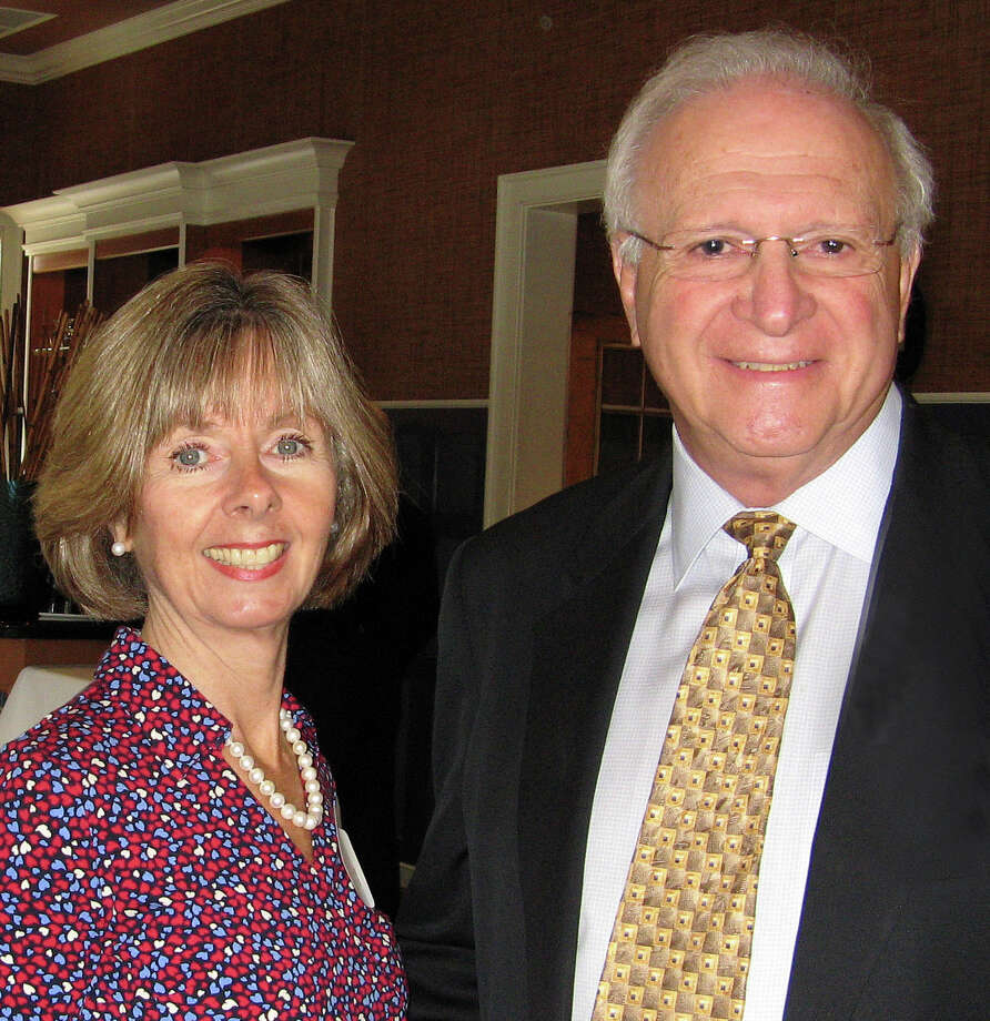 Sharon Bradley, the president and CEO of the Visiting Nurse & Hospice of Fairfield County, with Westport resident Hal Shupack at the agency's recent Boathouse Bash fundraiser. Photo: Contributed Photo / Westport News