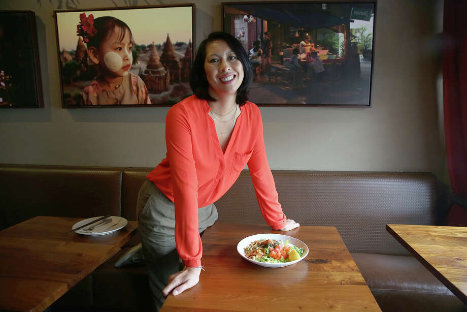 Generation 2: Burma Superstar co-owner Joycelyn Lee with the restaurant's tea leaf salad. Photo: Liz Hafalia / The Chronicle / ONLINE_YES