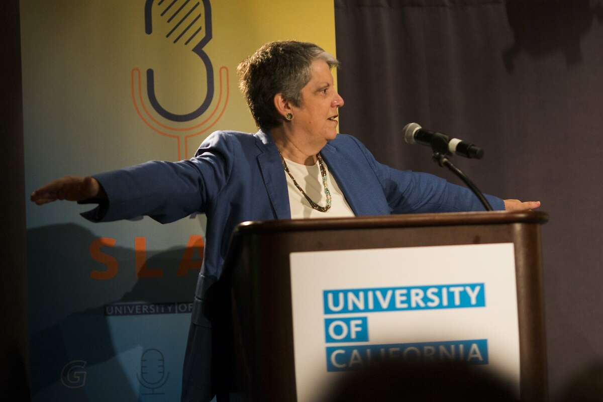 University of California President Janet Napolitano makes an airplane gesture on stage during the inaugural UC Grad Slam at Oakland Marriott City Center in Oakland, Calif. on Monday, May 4, 2015.