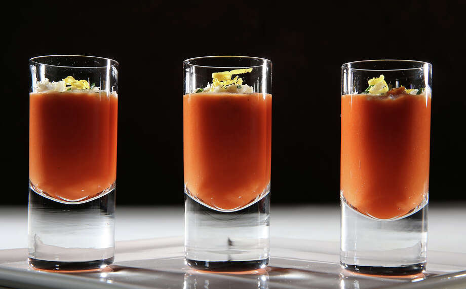 Gazpacho becomes a shooter, topped with buttery fresh crab and chives. Photo: Abel Uribe / Chicago Tribune / Chicago Tribune