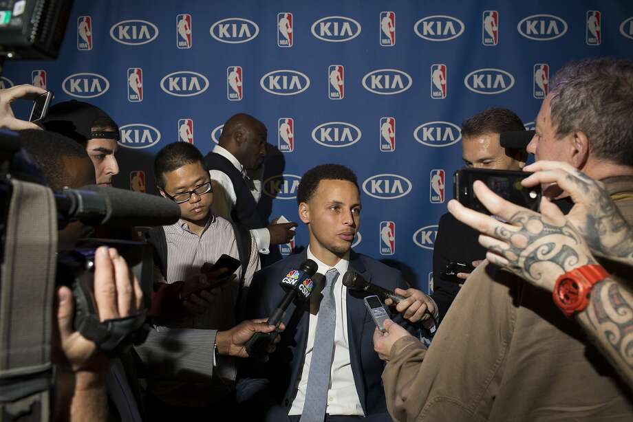 Stephen Curry meets with press after being named the NBA MVP at the Oakland Convention Center in Oakland, Calif. on Monday, May 4, 2015. Photo: Tim Hussin, Special To The Chronicle