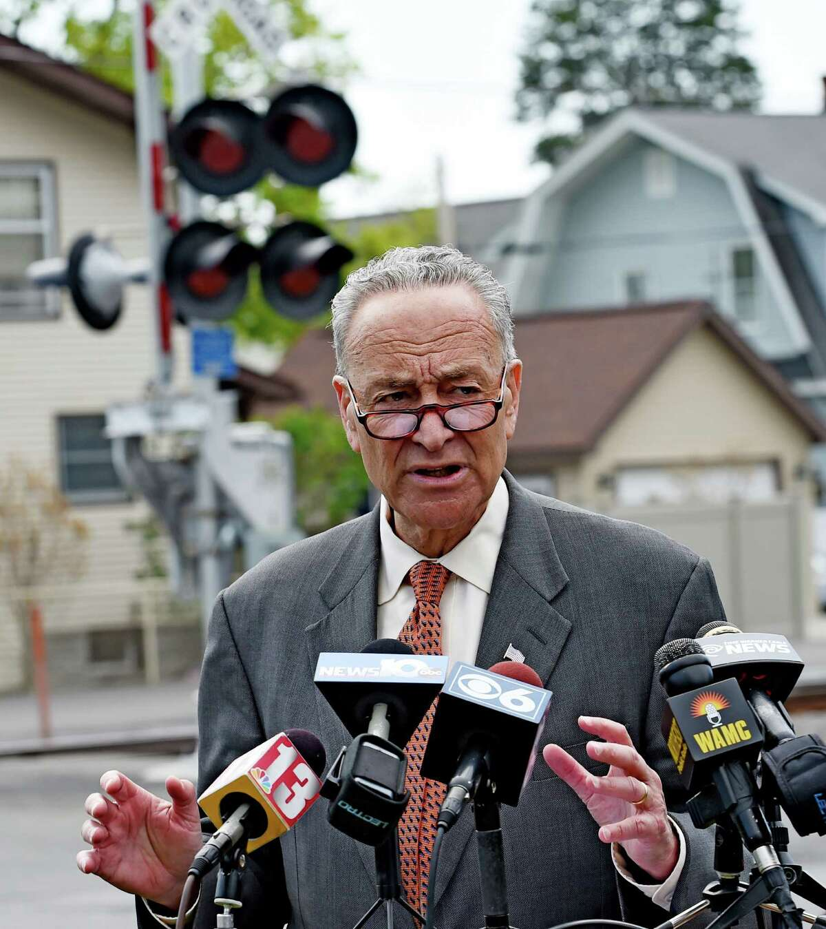 Senator Chuck Schumer call for stricter controls on the handling and transportation of crude oil Monday morning May 4, 2015 near a railroad line in Menands, N.Y. (Skip Dickstein/Times Union)