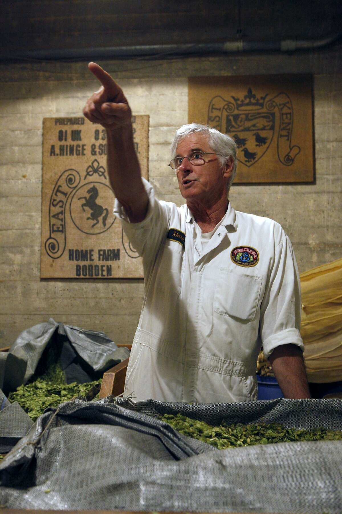 Mark checks out the hops at Anchor Brewing, Monday, April 27, 2015, in San Francisco, Calif.