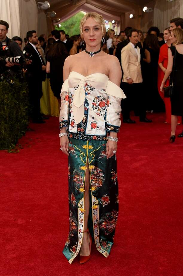 Chloe Sevigny. OK, we get that the actress was trying to channel the gala's 2015 theme, but ugh. The bottom, with its beautiful color and ornate embroidery, could be lovely, but the sloppy, droopy top looks messy. Photo: Larry Busacca, Getty Images