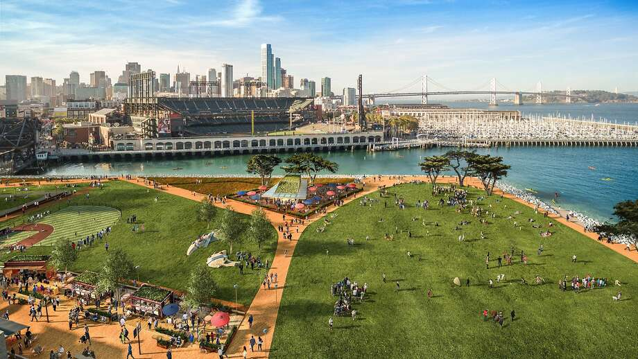 Renderings of the proposed improvements for the San Francisco Giants' long-planned mixed-use development across from AT&T Park. Photo: Steelblue/Perkins + Will, San Fr