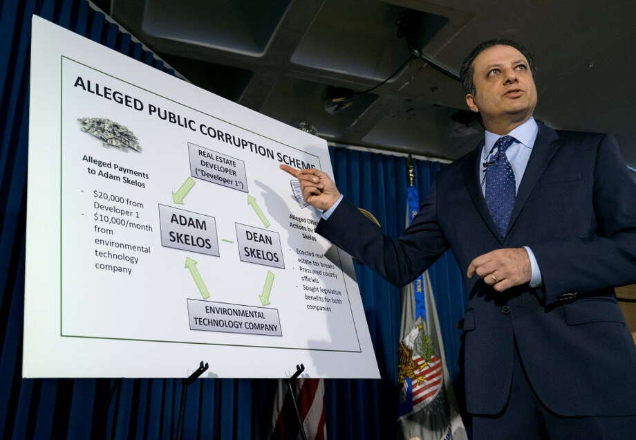 U.S. Attorney Preet Bharara addresses members of the media regarding New York Senate Majority Leader Dean Skelos and his son Adam during a news conference Monday, May 4, 2015, in New York. The Skeloses surrendered Monday to face charges including extortion and soliciting bribes amid a federal investigation into the awarding of a $12 million contract to a company that hired Adam. (AP Photo/Craig Ruttle)