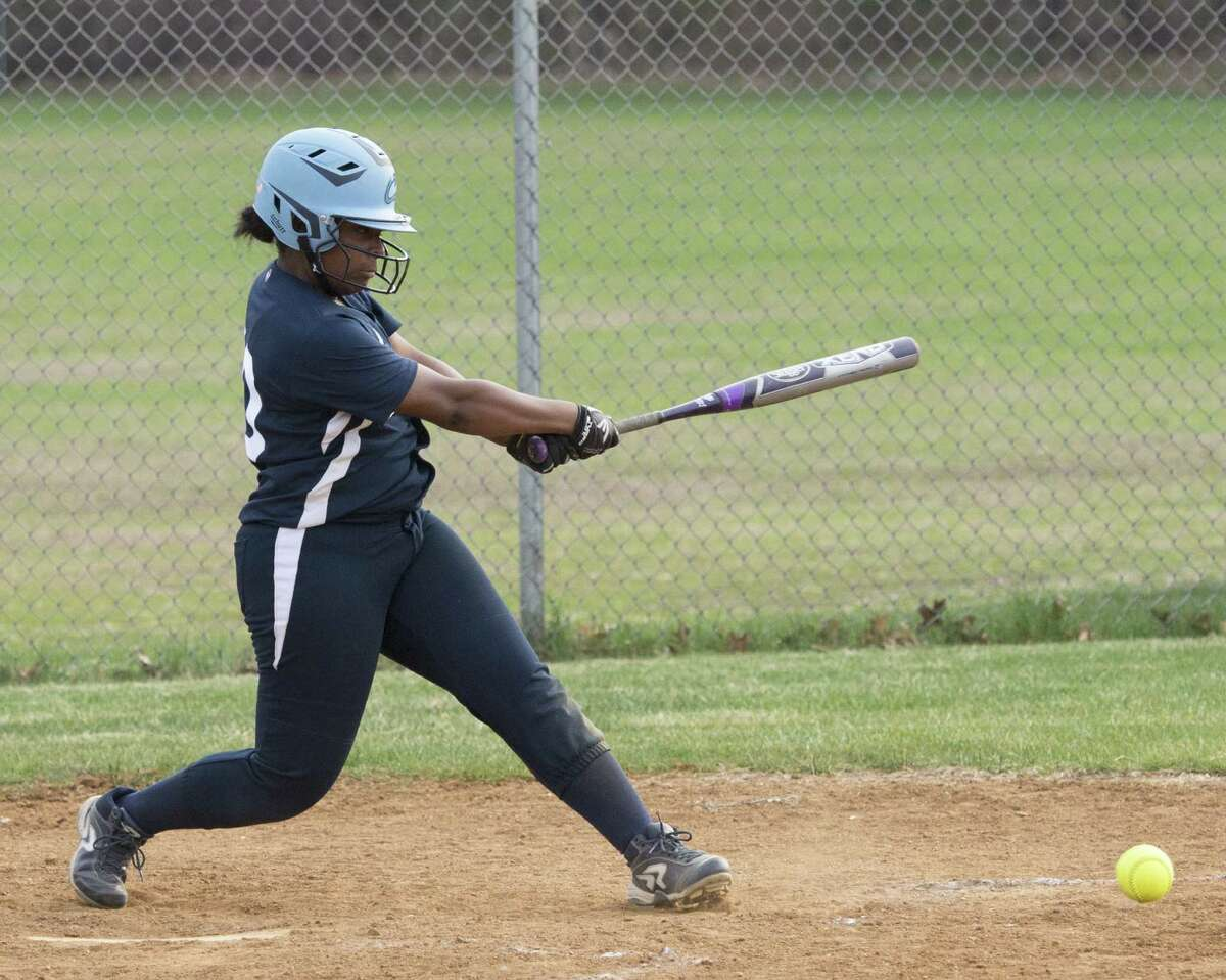 Columbia senior center fielder Samara Perry, who had four hits Monday, connects on a swing in the Blue Devils' 10-3 win against Shenendehowa.